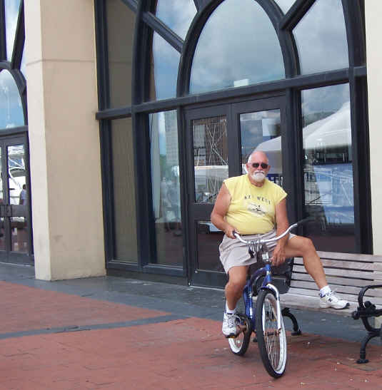 Dave biking around Savannah…taking a break!  Pulled away from Thunderbolt mid-morning on Wednesday morning.