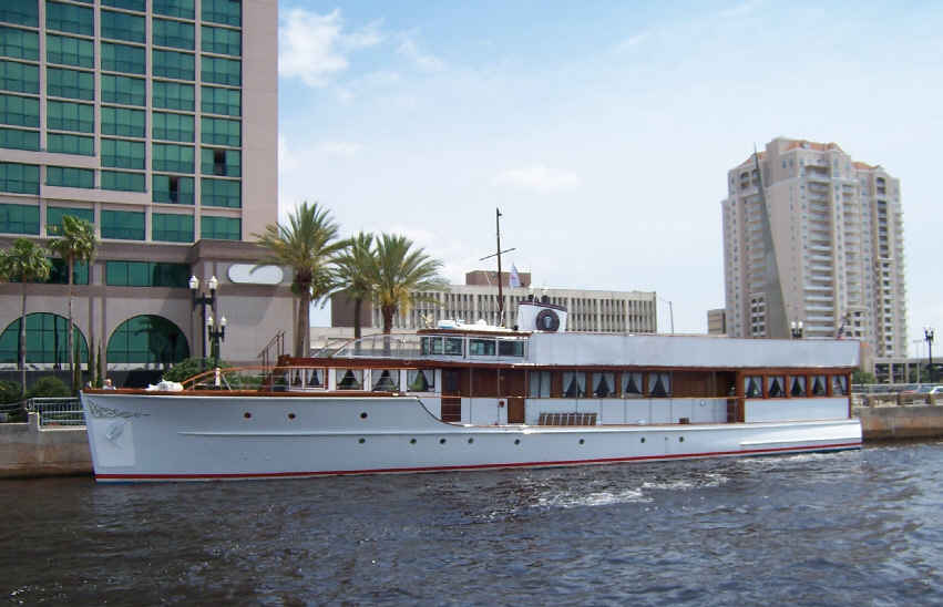 On one of our winter trips, Honey Fitz, the Kennedy's Presidential Yacht was tied up at The Landing downtown Jacksonville. She's a 92 footer, weights 88 tons, built in 1931. She was in the middle of doing a 14-city charity tour.