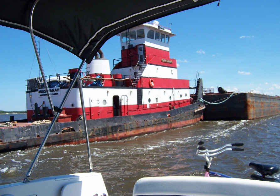 We met a towboat pushing a barge who was turning the waterway into a thick muddy mess while he churned the bottom. We had to pass by real close to him to stay in the channel.