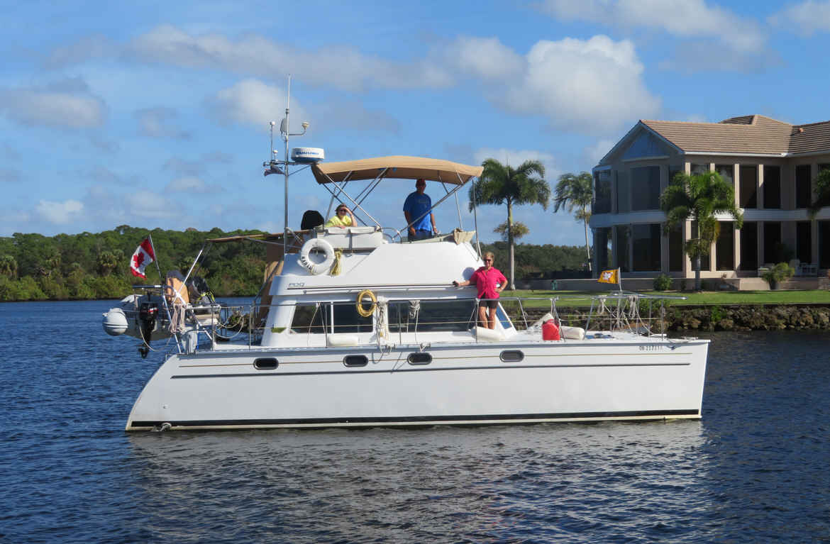 """Tiger"" pulled out on Wednesday. We went, along with Kent and Jane, to our house and waved good bye as they headed on across the Caloosahatchee River. They are going to be missed!"