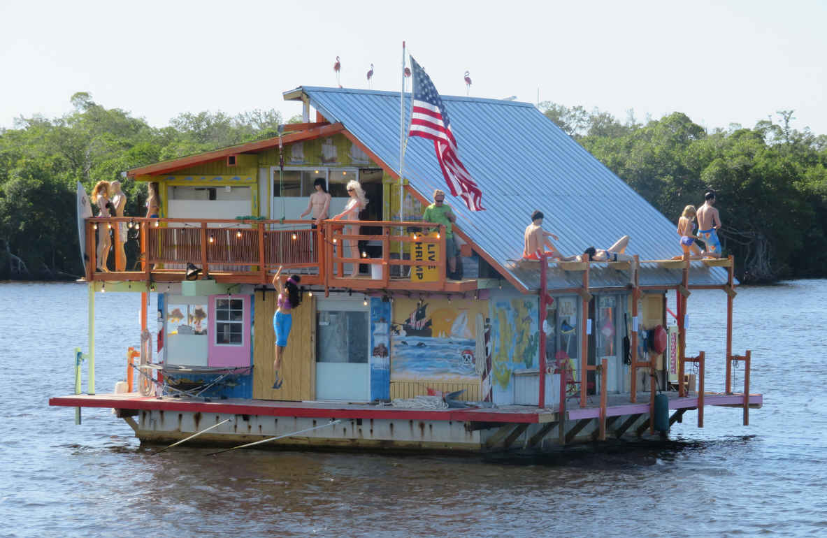 Looked like they were having quite a party when we passed by this floating houseboat.